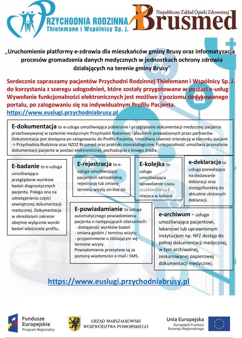 81757ac5122528 Platforma e-zdrowie oraz teleradiologia. Rejestracja :  www.euslugi.przychodniabrusy.pl